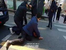 [충격]오세훈 유세차량 식칼 테러 범행하려던  남성 경찰에 긴급 체포